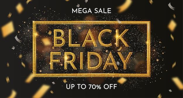 Black friday-verkoopbanner met realistische gouden decoratie Gratis Vector
