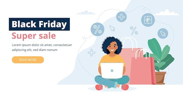 Black friday-verkoopbanner met vrouwenkarakter, online winkelconcept. Premium Vector