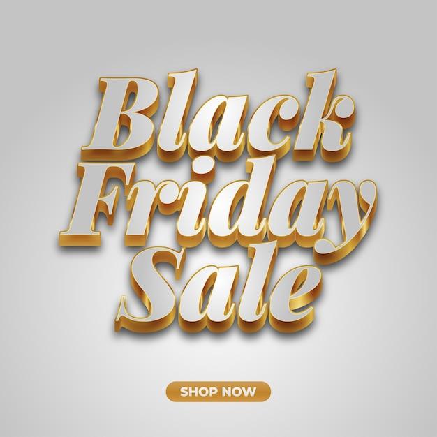 Black friday-verkoopbanner met witte en gouden tekst Premium Vector