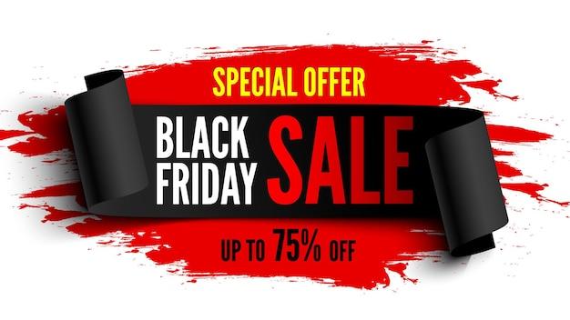Black friday-verkoopbanner met zwart lint en rode penseelstreken. vector illustratie. Premium Vector