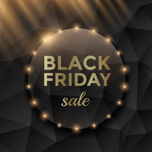 Black friday-verkoopbanner met zwarte driehoeksachtergrond en gouden teksten. Premium Vector