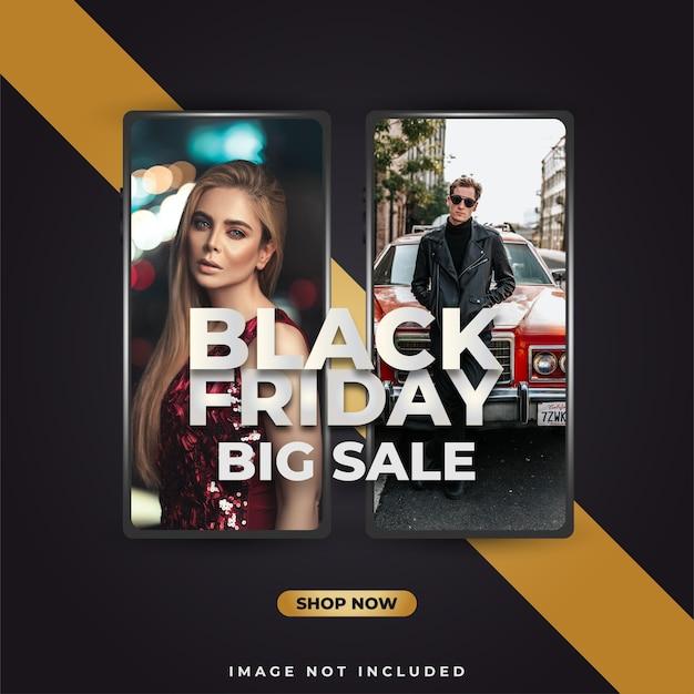 Black friday-verkoopbanner of poster met smartphone op zwarte en gouden achtergrond Premium Vector