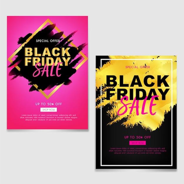 Black friday-verkoopbrochure of vlieger met abstract borstelgoud Premium Vector