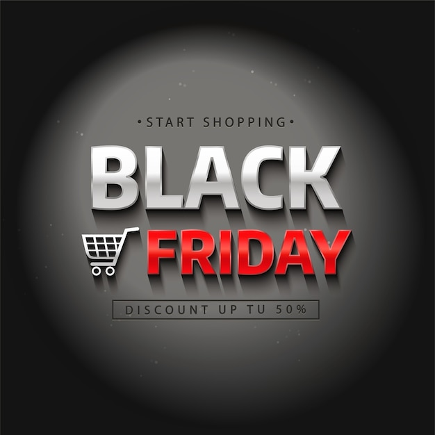 Black friday-verkoopetiket. realistische letters in het donker onder het licht. Premium Vector