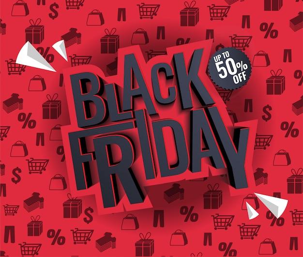 Black friday-verkoopillustratie Premium Vector