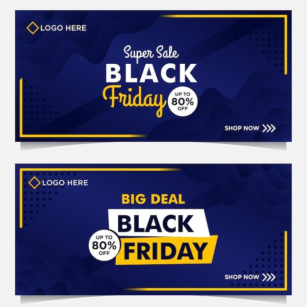 Black friday-verkoopsjabloon voor spandoek met blauwe achtergrondverloopstijl Premium Vector