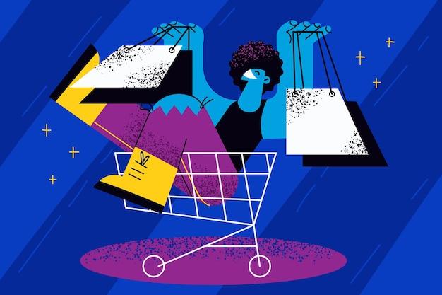 Black friday, winkelen, verkoopconcept Premium Vector