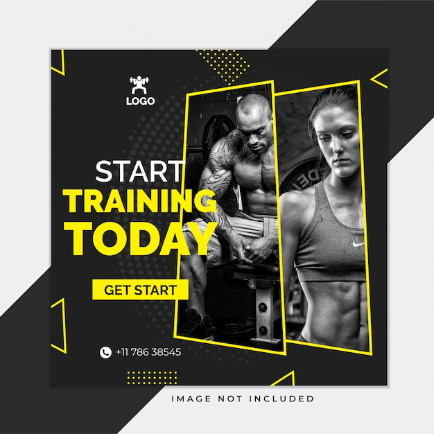 Black gym en fitness sociale media instagram postsjabloon Premium Vector
