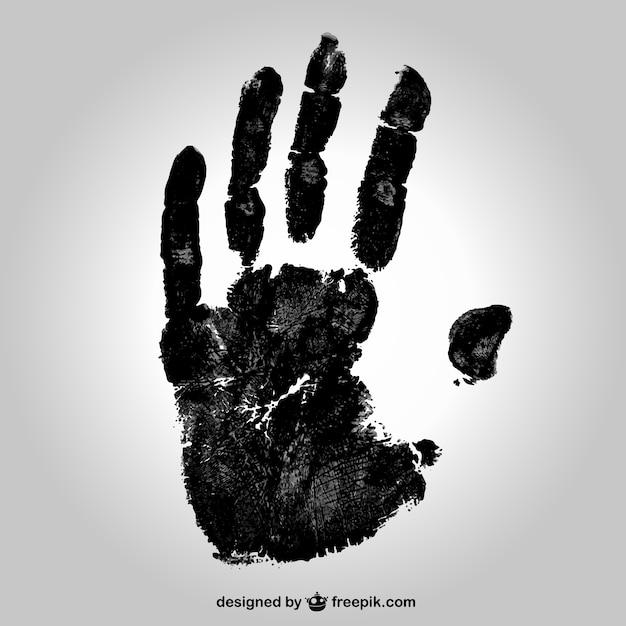 Black handafdruk Gratis Vector