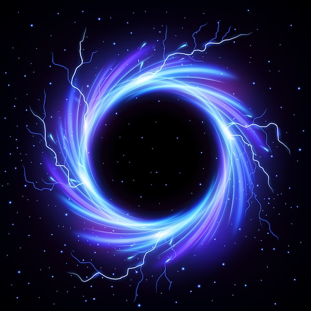 Black hole vortex met lightning flash outside vector Premium Vector