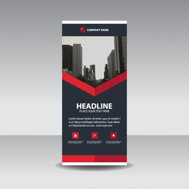 Black Red creatieve Roll up banner template Gratis Vector