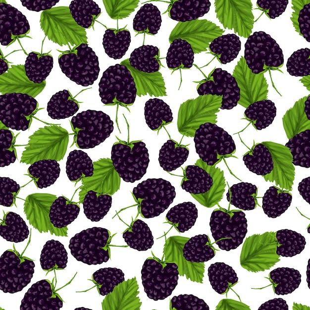 Blackberry naadloos patroon Gratis Vector