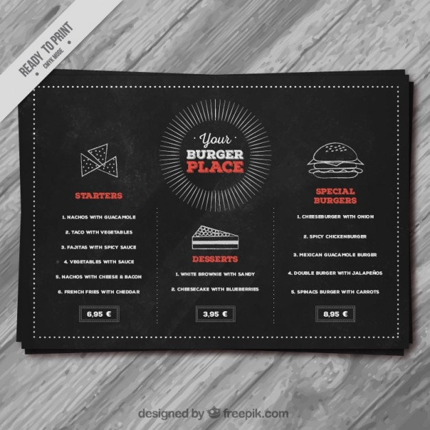 Blackboard Burger Menu