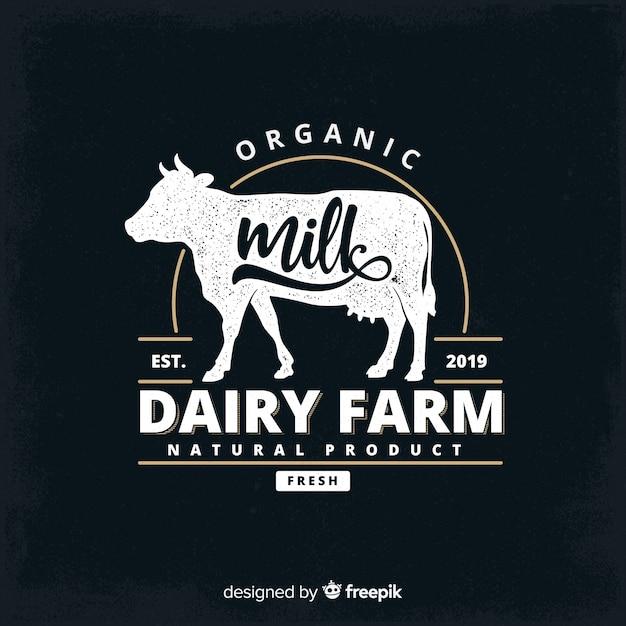 Blackboard effect biologische melk logo Premium Vector