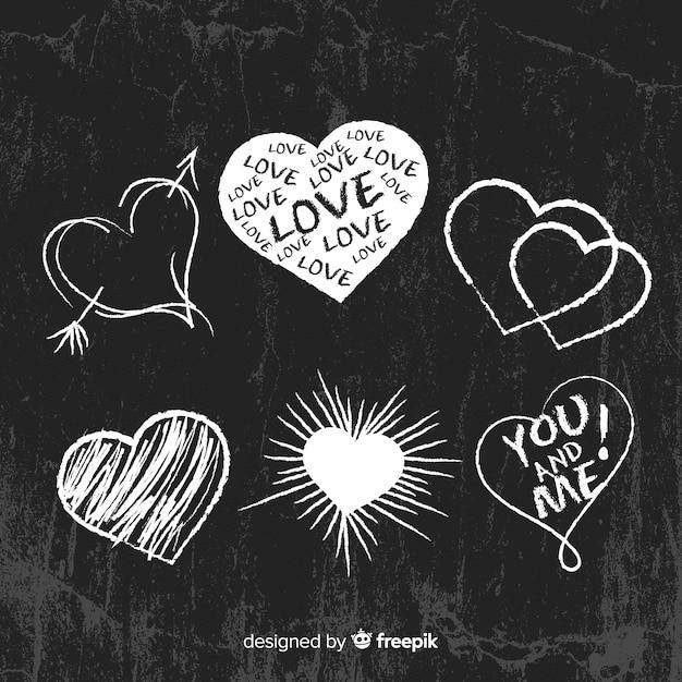 Blackboard heart set Gratis Vector