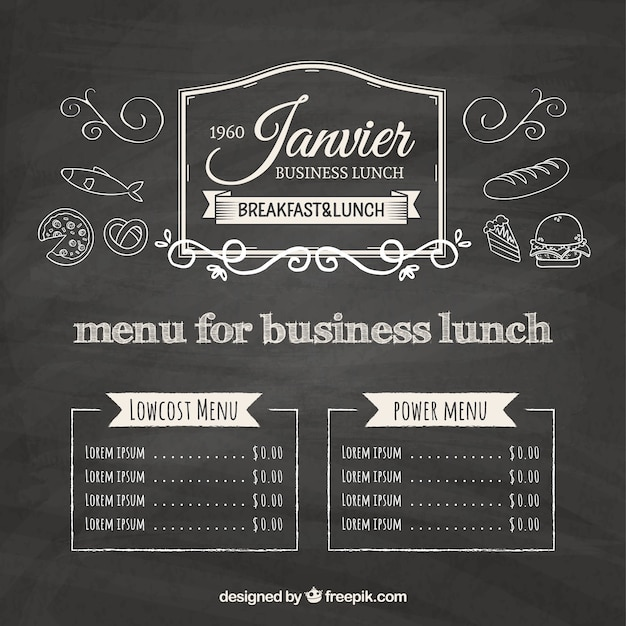 Blackboard menu voor zakelijke lunch achtergrond Gratis Vector