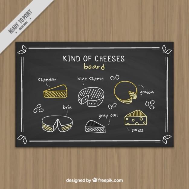 Blackboard met de hand geschreven variëteit aan kazen Gratis Vector