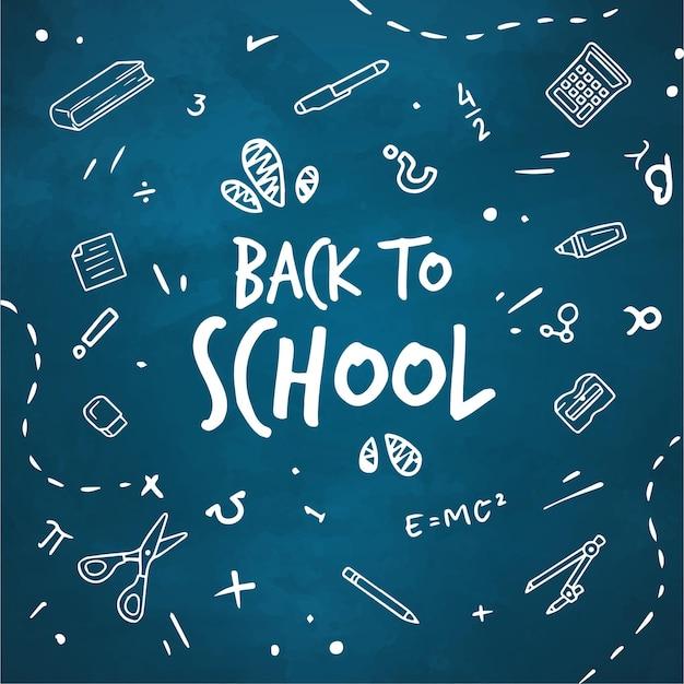 Blackboard terug naar school achtergrond met bericht Gratis Vector