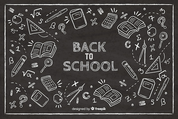 Blackboard terug naar school achtergrond Gratis Vector
