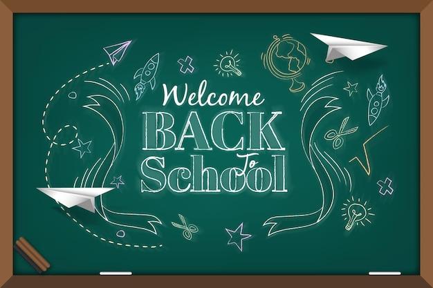 Blackboard terug naar school achtergrond Premium Vector
