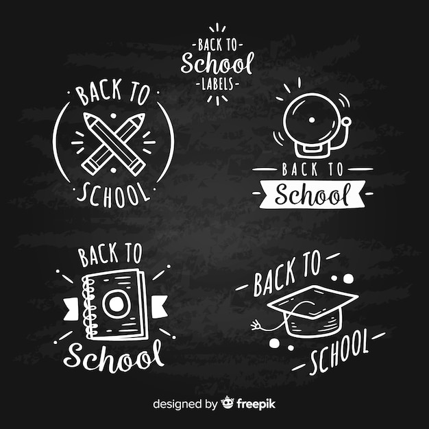Blackboard terug naar school badge-collectie Gratis Vector