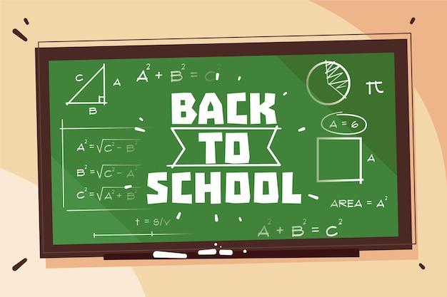 Blackboard terug naar schoolachtergrond Gratis Vector