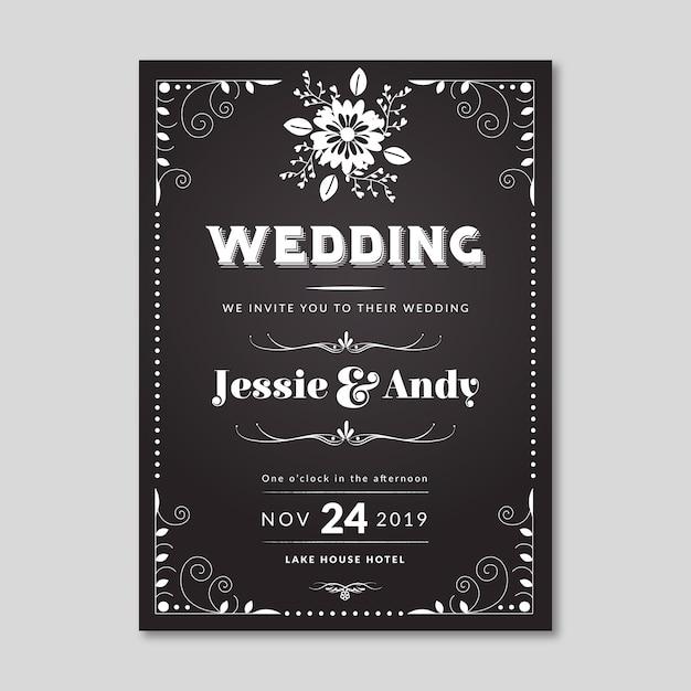 Blackboard uitnodigingssjabloon voor bruiloft Gratis Vector