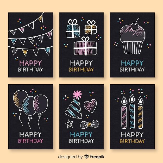 Blackboard verjaardagskaart collectie Gratis Vector