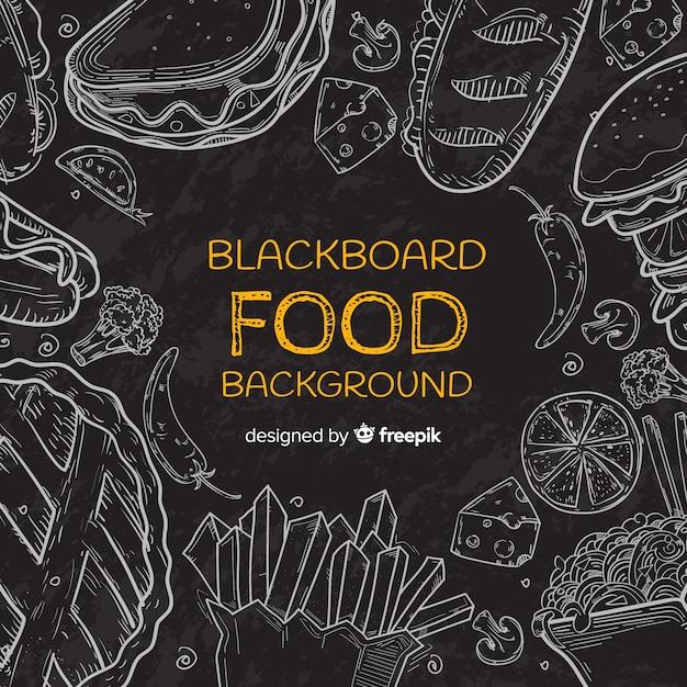 Blackboard voedsel achtergrond Gratis Vector