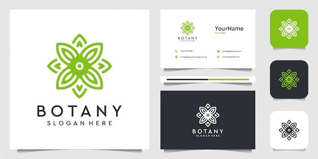Blad logo afbeelding afbeelding in lijn kunststijl. pak voor spa, bloem, decoratie, planten, groen, plantkunde, reclame, merk en visitekaartje Premium Vector