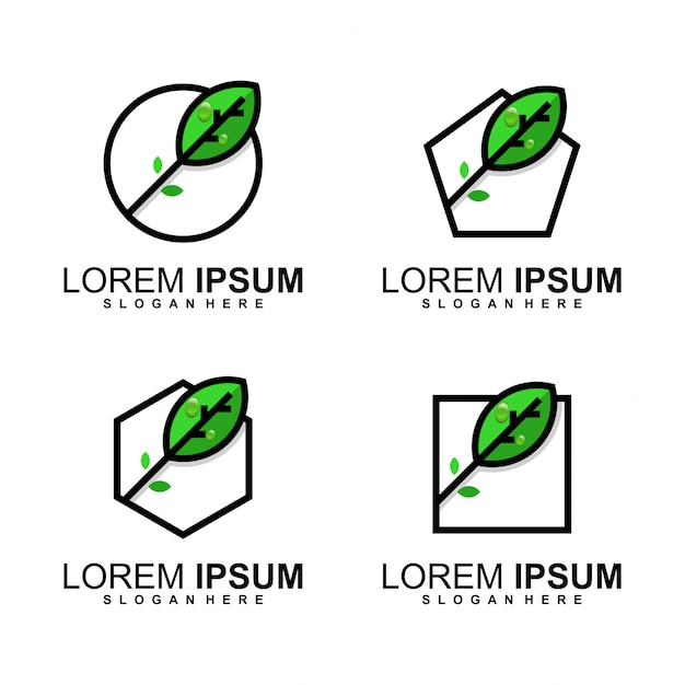 Blad logo bundel Premium Vector