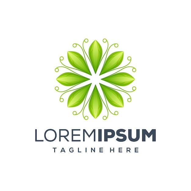 Blad logo ontwerp illustratie Premium Vector