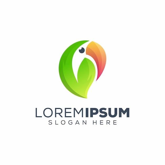 Blad toekan logo Premium Vector