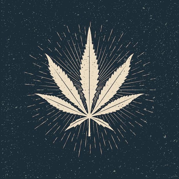 Blad van marihuana licht silhouet op donkere achtergrond. vintage stijl illustratie Premium Vector