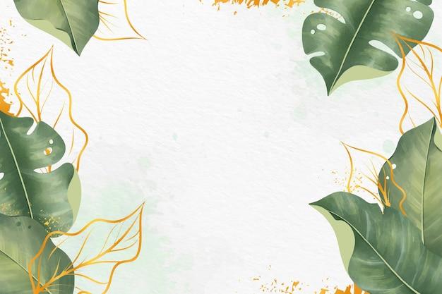 Bladeren achtergrond met metallic folie Gratis Vector