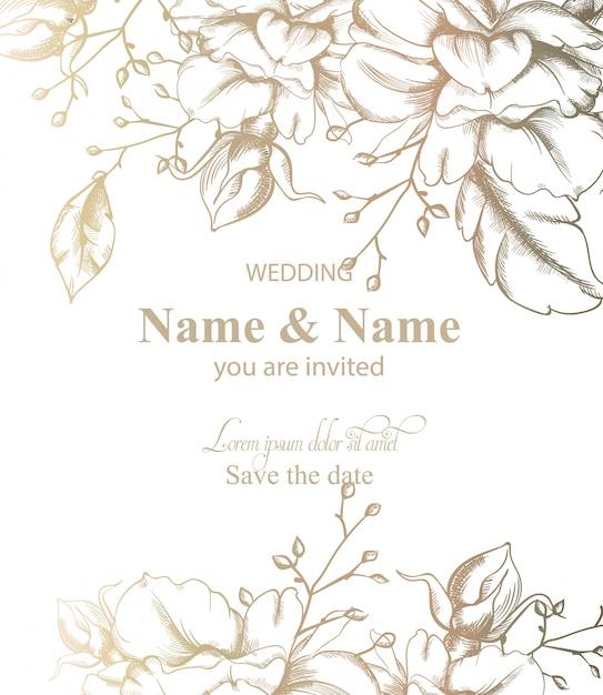Bladeren decor kaart lijntekeningen. vintage retro stijl bruiloft uitnodiging of groeten Premium Vector