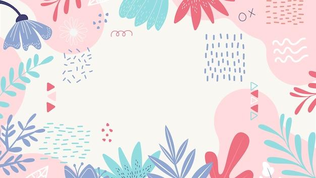 Bladeren en bloemblaadjes abstracte achtergrond Gratis Vector