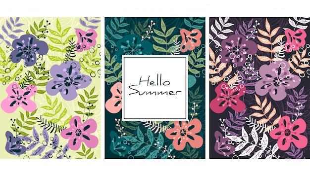 Bladeren en bloemenpatroon Premium Vector