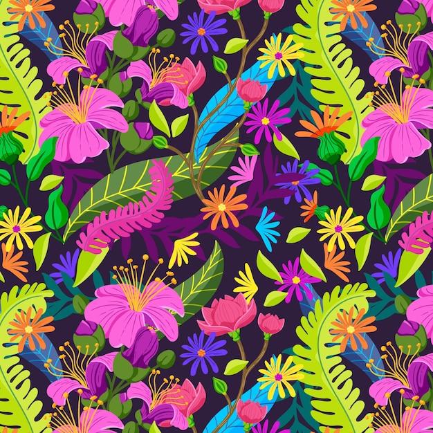 Bladeren en tropisch bloemenpatroon Gratis Vector