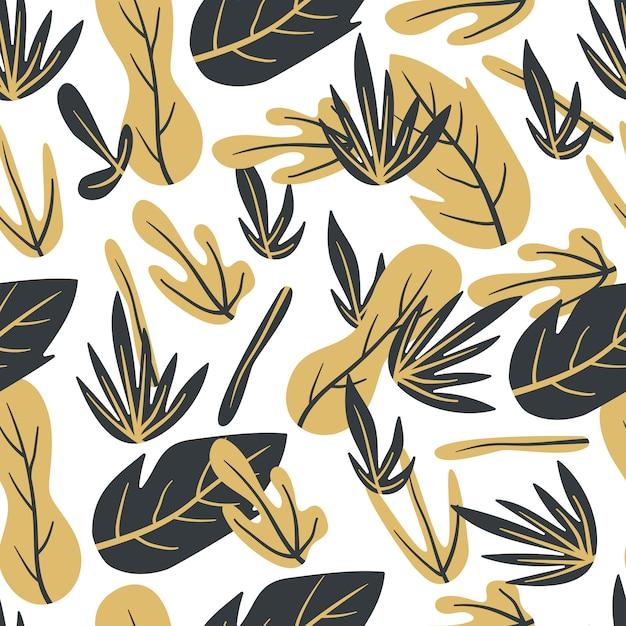 Bladeren gouden abstract hand getrokken naadloos patroon Premium Vector