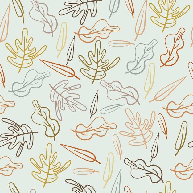 Bladeren herfstblad abstract hand getekende naadloze patroon Premium Vector