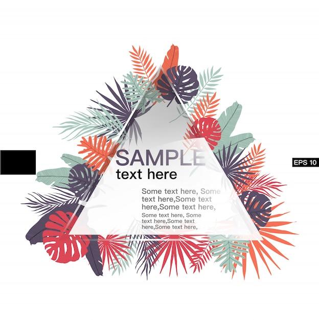 Bladeren tropische sjabloon voor spandoek met driehoek vorm Premium Vector