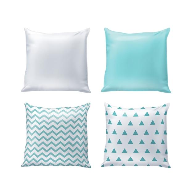 Blanco en gedrukte kussens in witte en blauwe kleuren geïsoleerd op de achtergrond Premium Vector