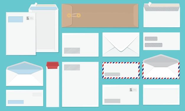 Blanco envelop. kantoorpapier huisstijl enveloppen collectie Premium Vector