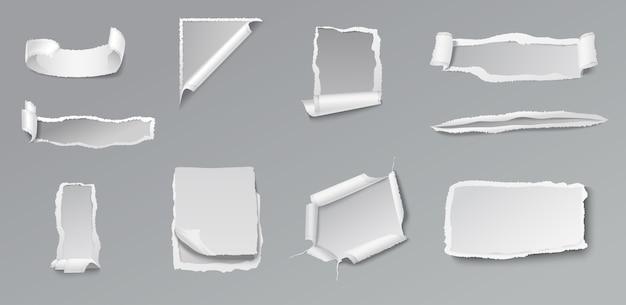 Blanco gescheurd papier set van verschillende vormen en vormen op grijs Gratis Vector