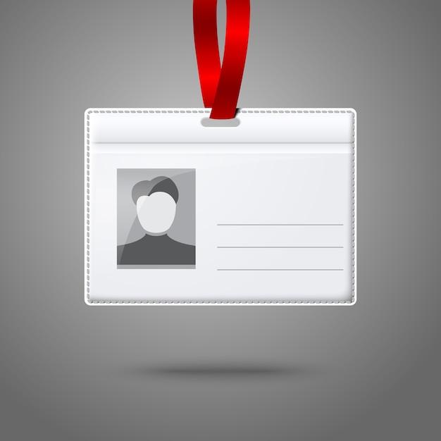 Blanco horizontale badgehouder met plaats voor foto en tekst Premium Vector