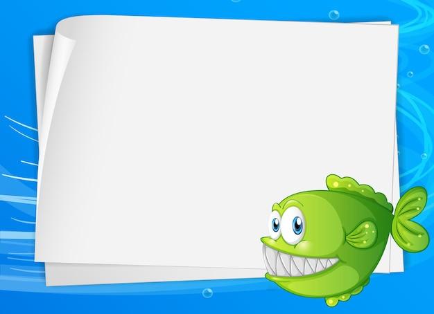 Blanco papier banner met exotische vissen en op de onderwaterachtergrond Gratis Vector