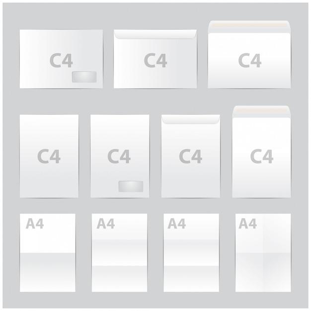 Blanco papier enveloppen set. formaat Premium Vector