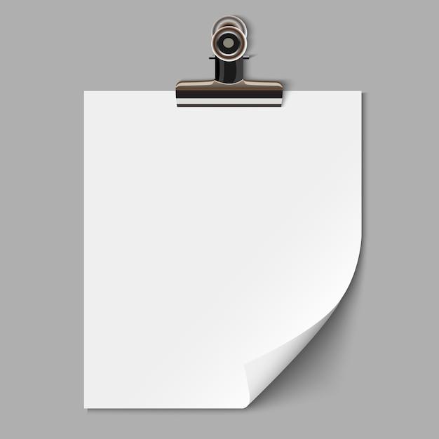 Blanco vel papier met klem Premium Vector