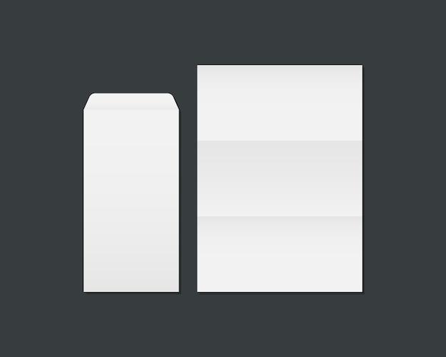 Blanco wit envelop en papier. open envelop en papier mockup geïsoleerd op zwarte achtergrond. sjabloon voor bedrijfs- en huisstijlidentiteit. Premium Vector